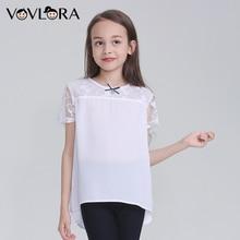 Купить с кэшбэком School Girls Blouses Chiffon White Kids Blouse Short Sleeves Tops 2018 News Children Clothes Casual Size 9 10 11 12 13 14 Years