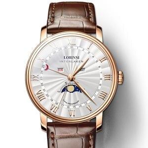 LOBINNI мужские часы швейцарские роскошные Брендовые Часы мужские сапфировые водонепроницаемые Moon Phase reloj hombre Japan Miyota Movement L3603-3