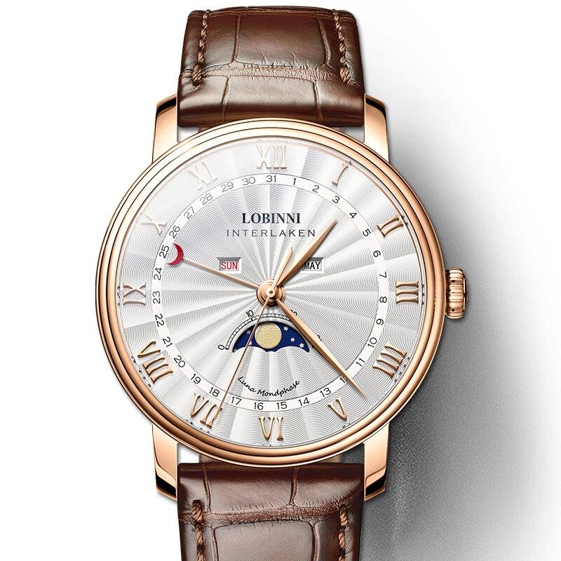 LOBINNI Relógios Dos Homens Homens Relógio de Luxo Da Marca Suíça de Safira À Prova D' Água reloj hombre Japão Miyota Movimento Da Fase Da Lua L3603-3