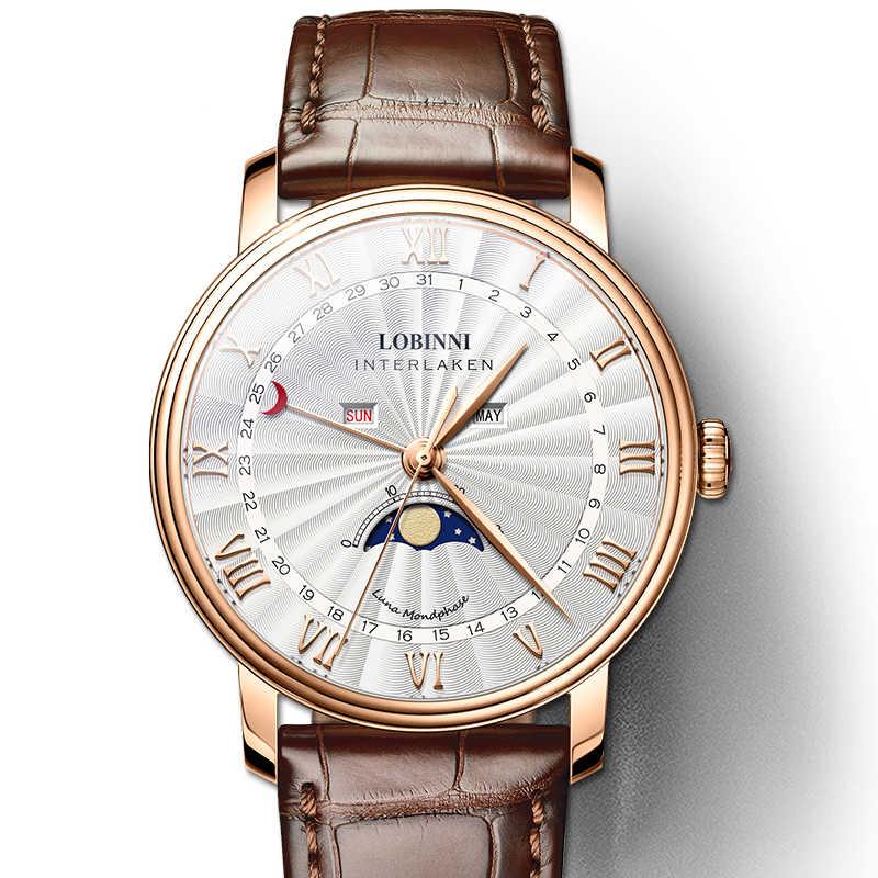 LOBINNI mężczyźni zegarki szwajcaria luksusowej marki zegarek mężczyźni Sapphire wodoodporna faza księżyca reloj hombre Japan Miyota ruch L3603-3