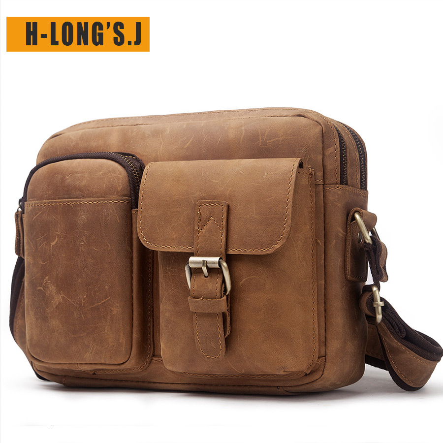 H-LongS.J 100% Leather Mens Bag High Quality Crazy Horse Head Layer Leather Retro Casual Bag Top Leather Shoulder Diagonal BagH-LongS.J 100% Leather Mens Bag High Quality Crazy Horse Head Layer Leather Retro Casual Bag Top Leather Shoulder Diagonal Bag