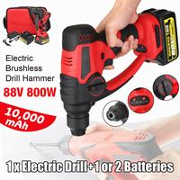 Drillpro 88v 800w 10000mAh Electric Hammer Brushless Cordless Lithium Ion Hammer Drill with 1 or 2 Battery Power Tools