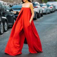 TWOTWINSTYLE Strapless Red Wide Leg Women's Romper Oversized Asymmetrical Jumpsuits For Women 2020 Autumn Fashion Streetwear