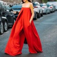 TWOTWINSTYLE Strapless Red Wide Leg Women's Romper Oversized Asymmetrical Jumpsuits For Women 2018 Autumn Fashion Streetwear