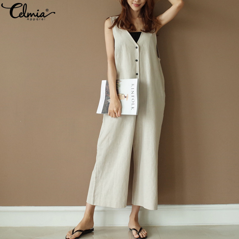 43c984dd046 Detail Feedback Questions about Oversized Celmia Women Jumpsuit 2019 Summer  Romper Casual Sleeveless Wide Leg Trousers V neck Button Vintage Linen  Overalls ...