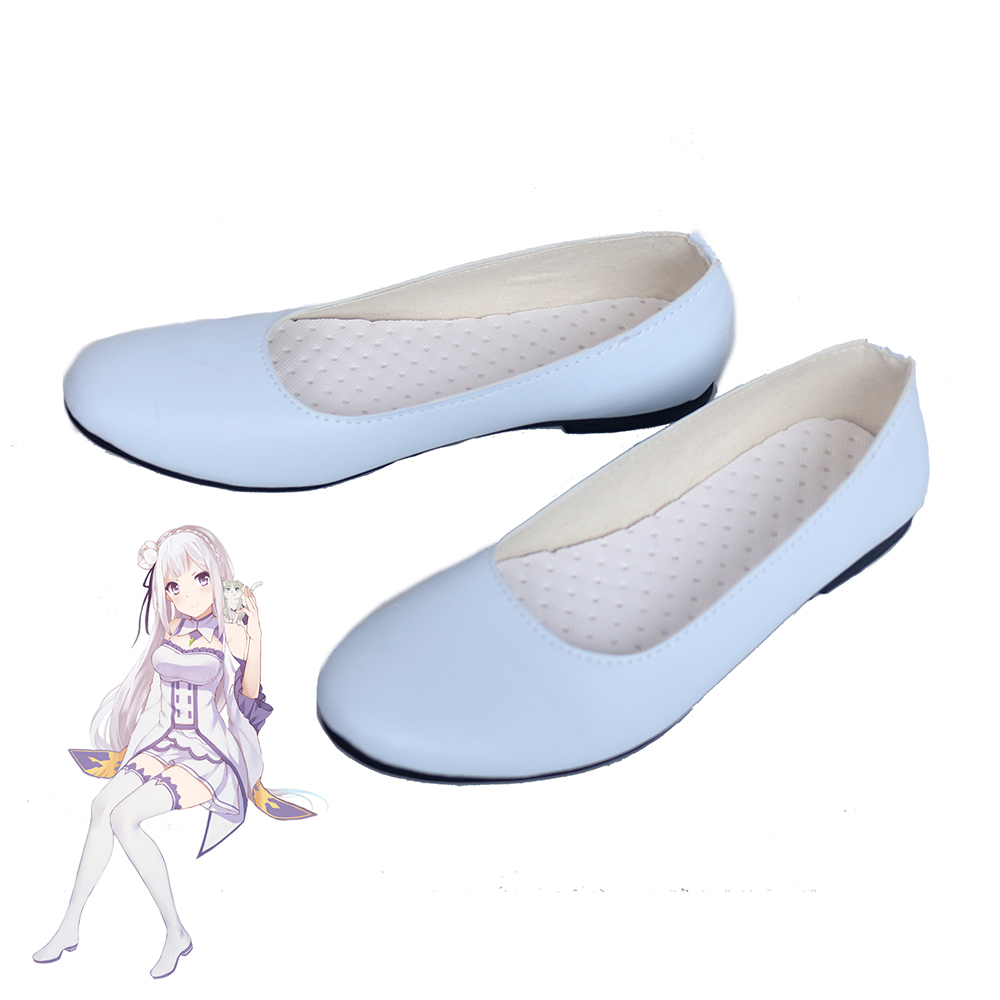 Re Zero Emilia White Cosplay Shoes Women Boots
