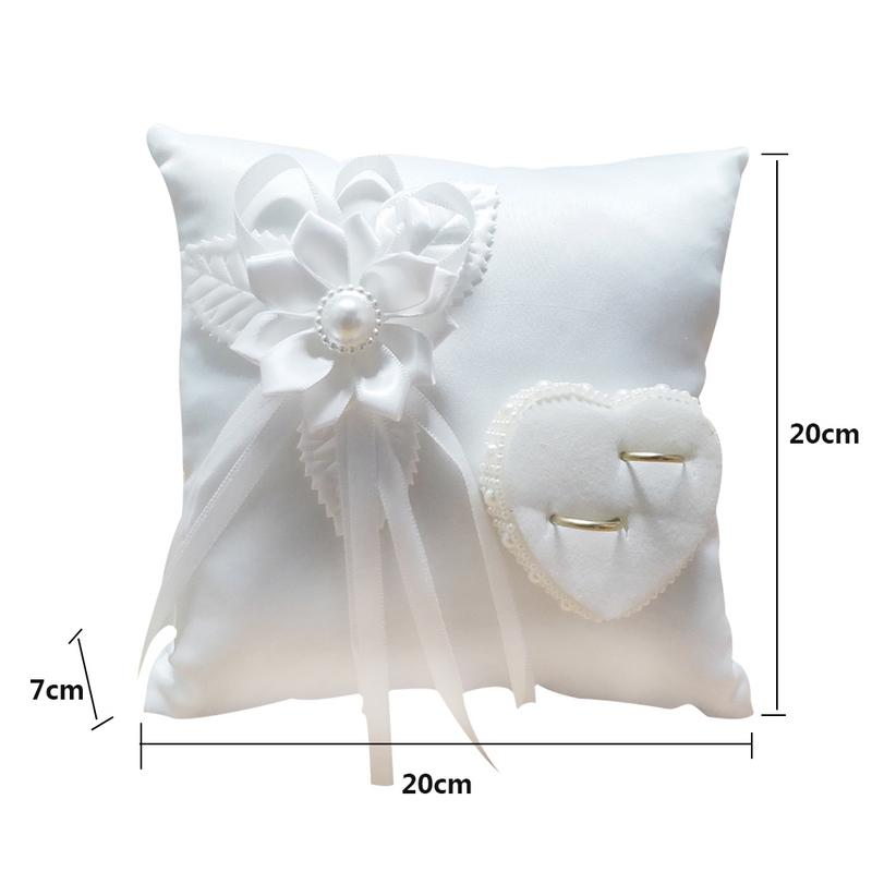 Wedding Ring Pillow Romantic Stylish White Square Flower Ring Camellia Heart Shaped Cushion Marriage Supplies For Indoor Outdoor