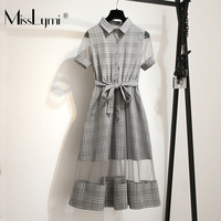 2019 Summer Women Plaid Shirt Dress Short Sleeve Sexy See Through Mesh Patchwork Loose Casual A Line Midi Dresses with Belt