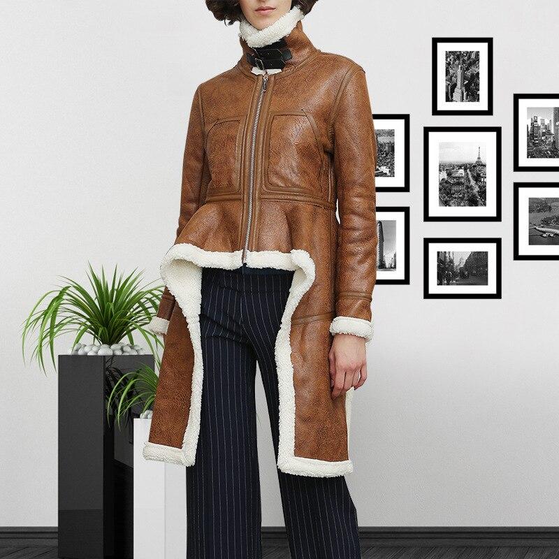 Une Femmes Coton Manteau Femelle Femme 2018 Irrégulière Mode Fourrure D'hiver Marron Vestes Épais awFH5