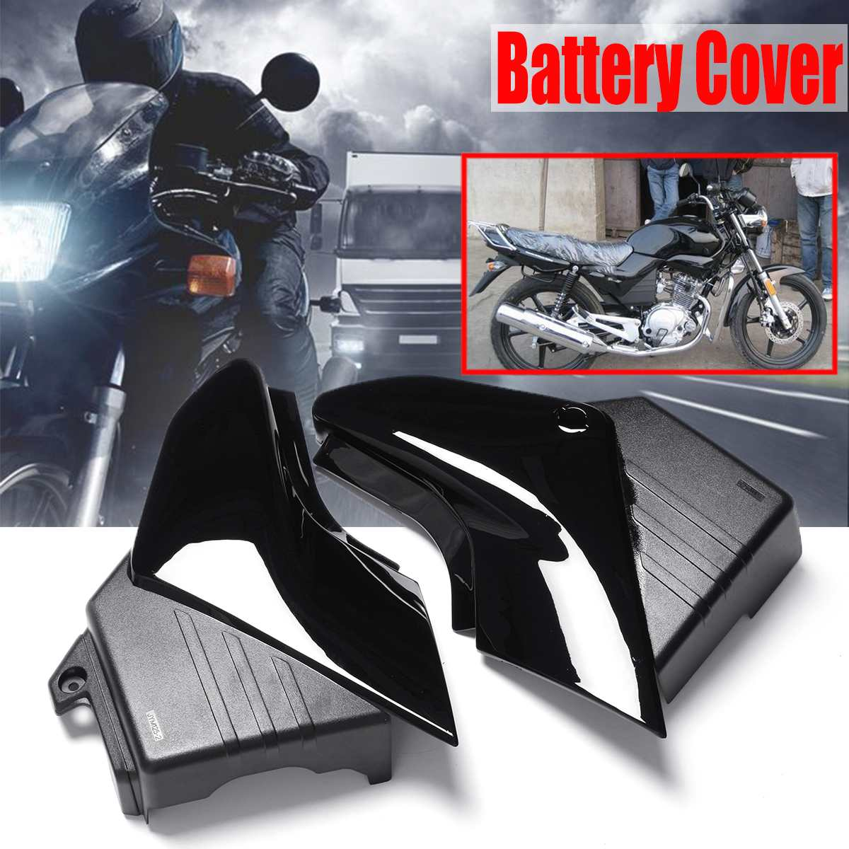 pair motorcycle black side panel battery cover for yamaha. Black Bedroom Furniture Sets. Home Design Ideas