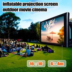 6X4 M Opblaasbare Outdoor Projector Film Projectiescherm Home Party Achtertuin Cinema Blower Fan