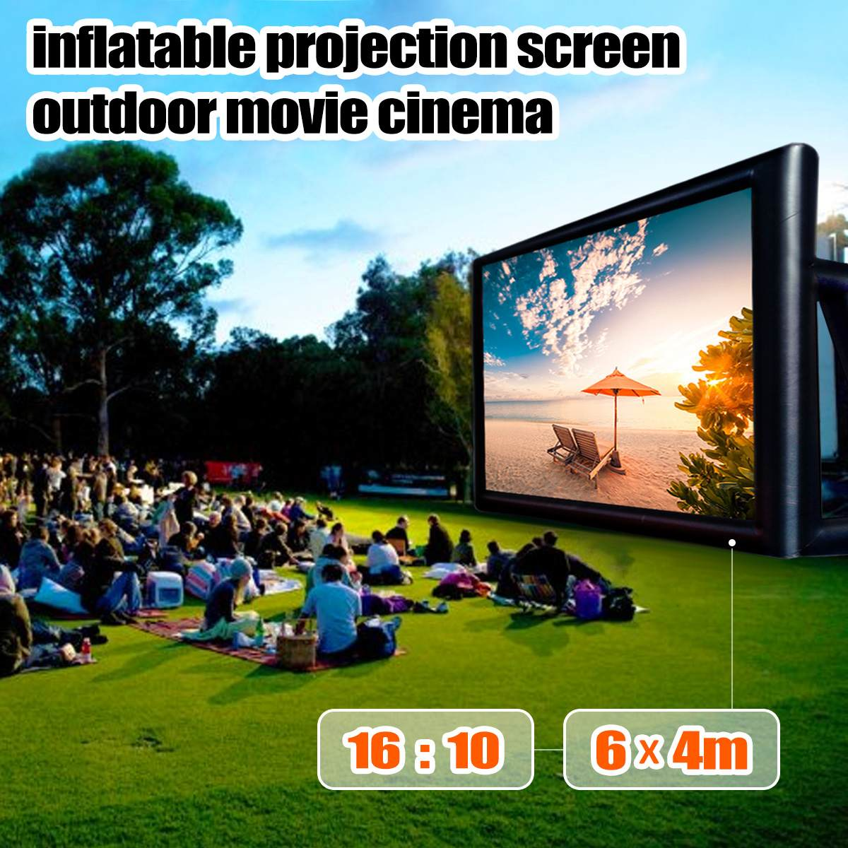 6x4M Inflatable Outdoor Projector Movie Projection Screen Home Party Backyard Cinema Blower Fan