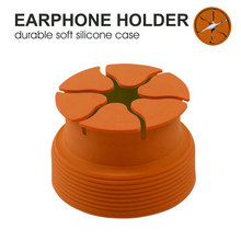 Headphone cord winder Silicone earphone storage box bag Round Mini headphone holder