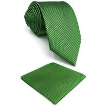 Solid Green Striped Silk Mens Necktie Set Wedding Designer Fashion Dress Pocket Square X-long