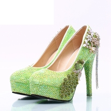 Dropshipping Green AB Color Bride Wedding Shoes Women High Heel Rhinestone  Party Prom Shoes Platforms Handmade d73769e32371