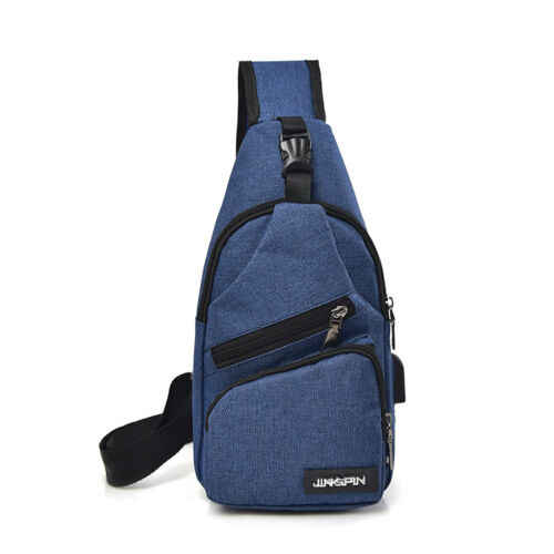 Ombro Sling Saco de Lona Pacote Peito dos homens de Carregamento USB Sports Crossbody Sacos De Armazenamento Bolsa