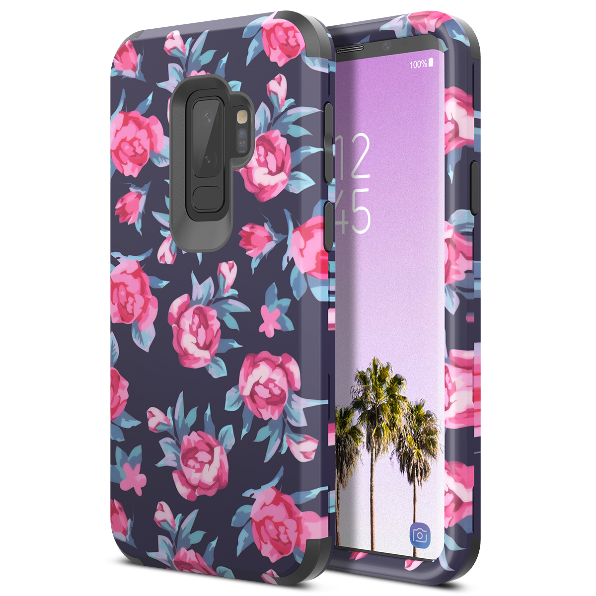 Luxury 3 In 1 Hard Case For Samsung Galaxy S9 Plus Case Flowers Bumper PC Silicone Shockproof Cover For Samsung Note 8 9 Case