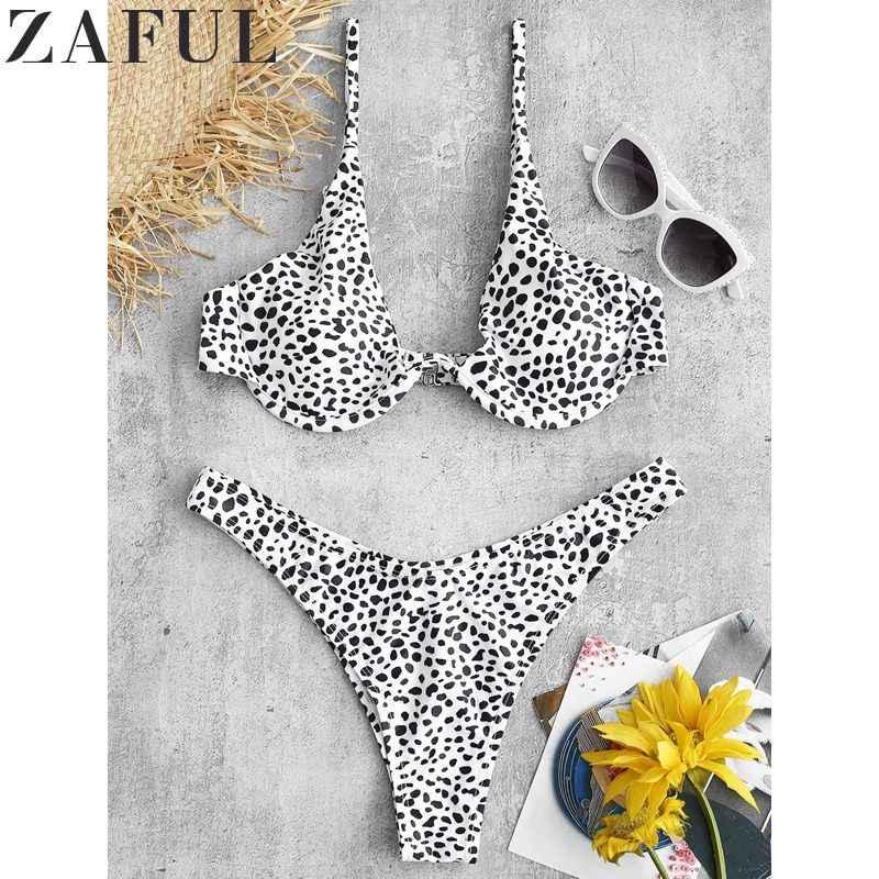 ZAFUL Sexy stroje kąpielowe wyściełane drukowane fiszbiny bikini wysoko wycięte zestaw kostiumy kąpielowe usztywniony kostium kąpielowy kostiumy plażowe dla kobiet