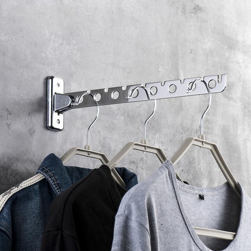 Stainless Steel Folding Space Saving Clothes Hangers with Hook Magic 6 /8 Hole Wall Mounted Clothes Drying RackStainless Steel Folding Space Saving Clothes Hangers with Hook Magic 6 /8 Hole Wall Mounted Clothes Drying Rack