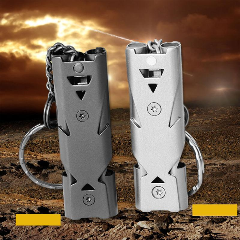 Mounchain 1 Pc 150DB Stainless Steel Whistle With Key Chain Lifesaving Emergency SOS Encourage Outdoor Survival Tool
