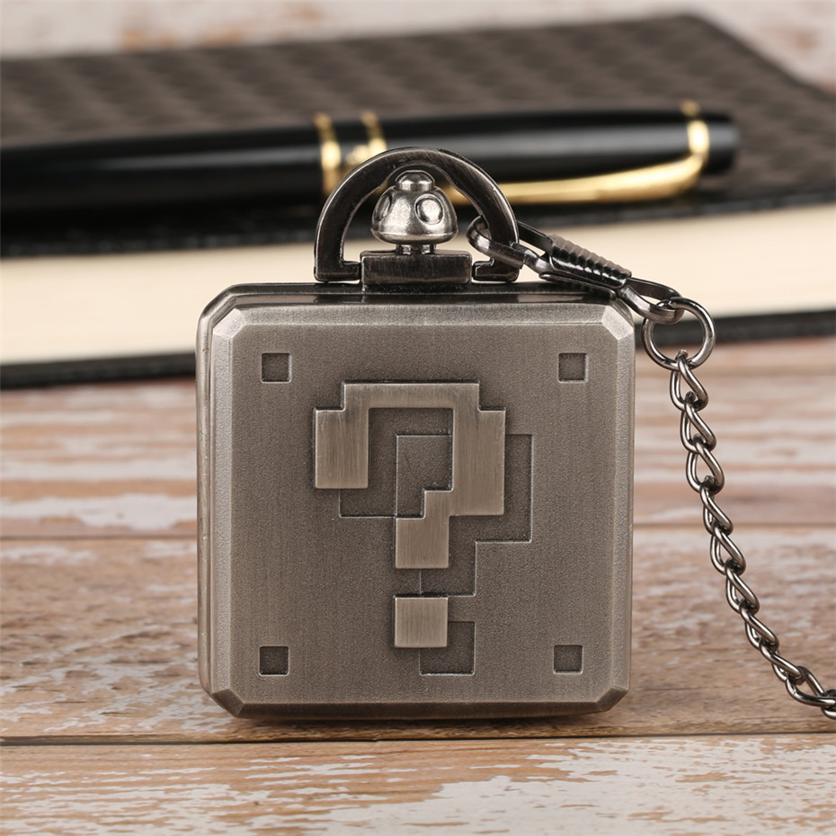 Creative Question Mark Design Pocket Watch Square Steampunk Pendant Watch Gifts For Students New Arrival 2018 Cool Fob Watch