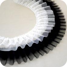 Wide 9cm White Black Lace Fabric Elastic Pleated Chiffon Trim Ribbon Diy Folded Sewing Collar Dresses Skirts Hem Decoration