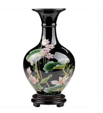 Chinese Black Ceramic Home Decoration Accessories Hand Painted Vase Living Room Entrance, Decorations