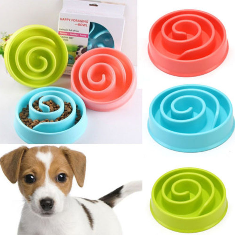 Brand New Style Dog Cat Pet Bowl Pan Interactive Slow Food Feeder Healthy Gulp Feed Dish Large image
