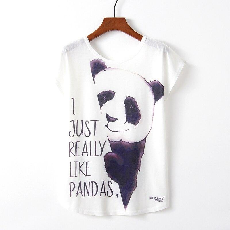 KaiTingu Spring Summer Women T Shirt Novelty Harajuku Kawaii Cute Style Panda Print T-shirt New Short Sleeve Tops Size M L XL