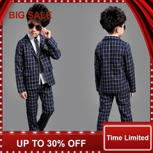 School Kids Plaid Suit England Style Boys Formal Wedding Blazer Suit Boys Birthday Suit Brand New Year