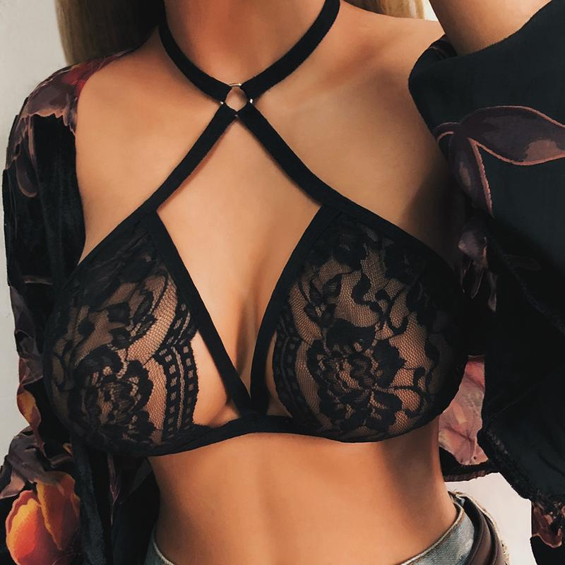Lace Bandage Lingerie Corset Push Up Top Bralette Cage Bra Strappy Bustier Womens Black Sheer Lace Underwear Harness Erotic Wear