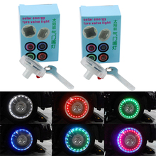 2pcs Car Flashing Valves Caps Decorative Lamp Solar Energy Wheel Light Air Tire Motorcycle LED Car-styling