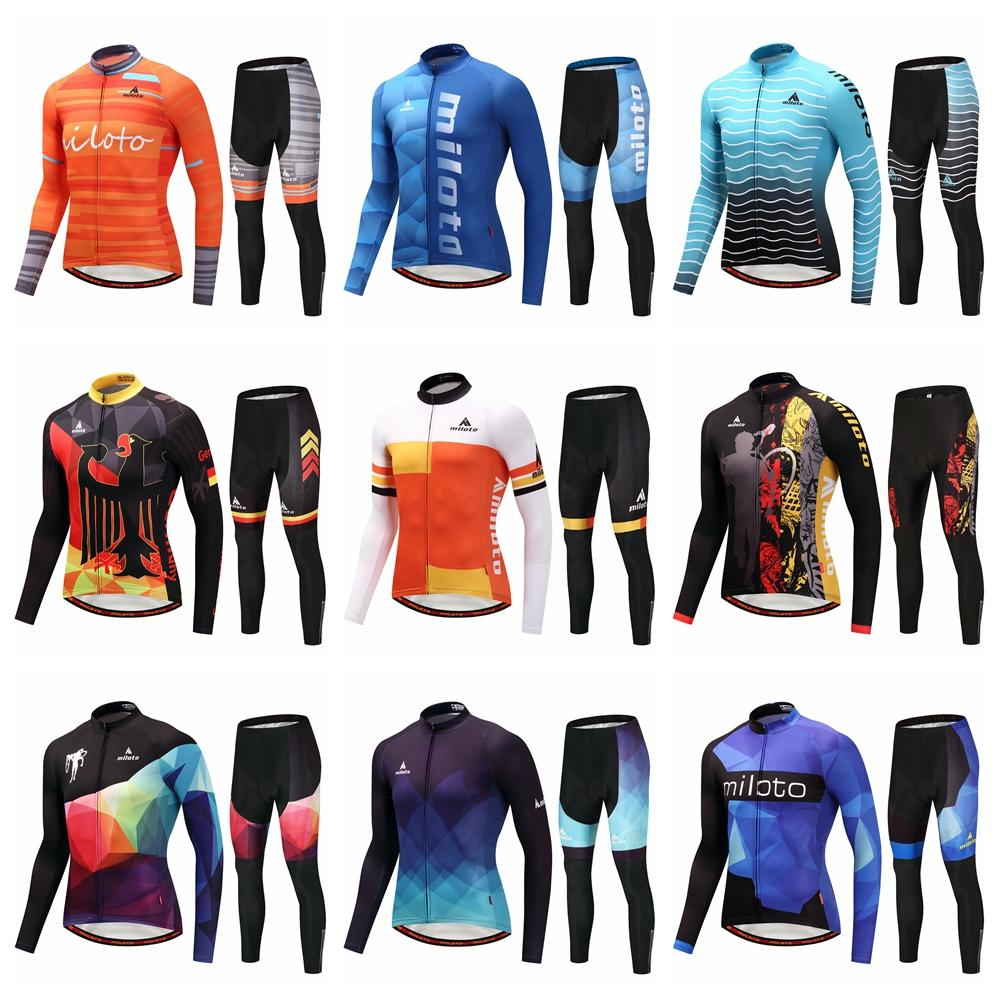 Cycling jerseys men Summer Spring long sleeve Jersey Pants Set Maillot ciclismo road riding shirt bicycle