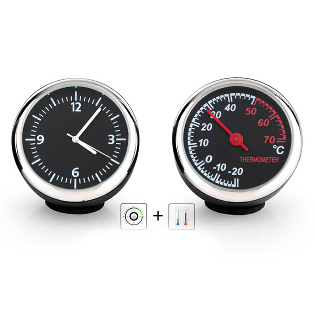 3pcs/Set Electronic Car Thermomete Clock Luminous Mechanical Clock Thermometer Hygrometer Steel Core Voiture Auto Accessories