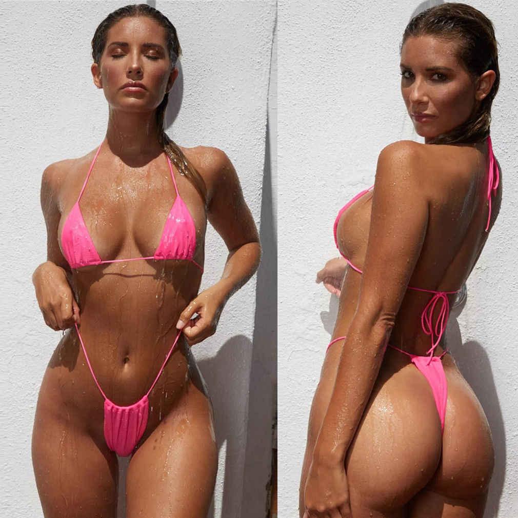 2 sztuk Sexy kobiety lato stroje kąpielowe Bikini zestaw biustonosz trójkąt garnitur strój kąpielowy strój kąpielowy