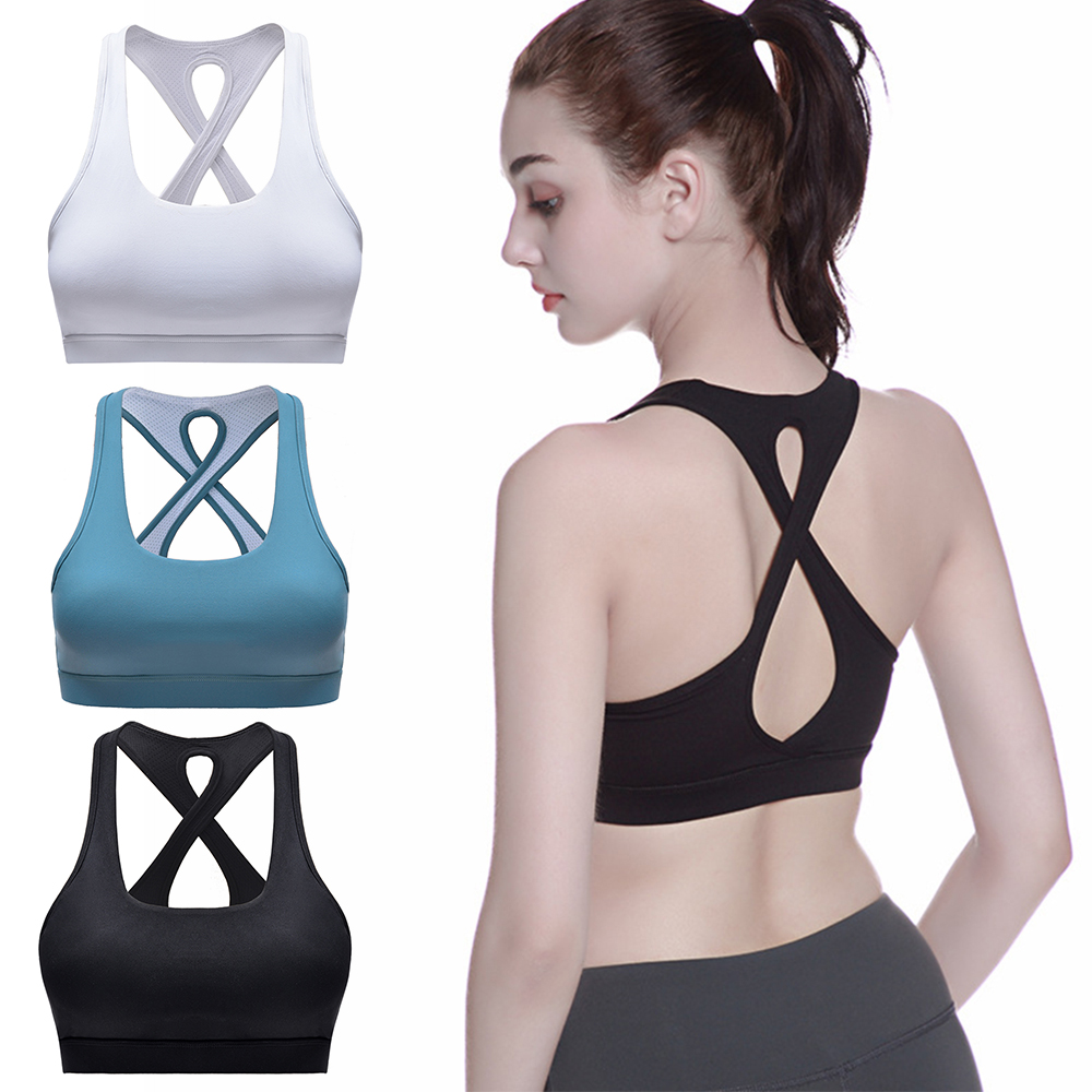 Woman Back Cross Sport Bra Seamless Breathable Athletic Vest Fitness Yoga Gathering Sports Bra Polyester Active Clothing Kits