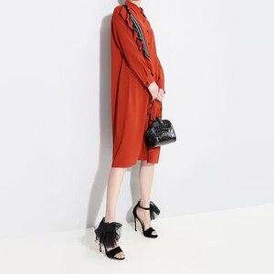 Image 5 - [EAM] 2020 nueva primavera otoño solapa de manga larga roja suelta volantes Stplit conjunto de gran tamaño camisa vestido mujeres moda marea JQ148