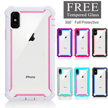 Heavy Duty Protection Doom armor PC+TPU Case for iPhone X XS Max XR 6 6S 7 8 Plus Shockproof Sturdy Case Free Tempered Glass цена и фото