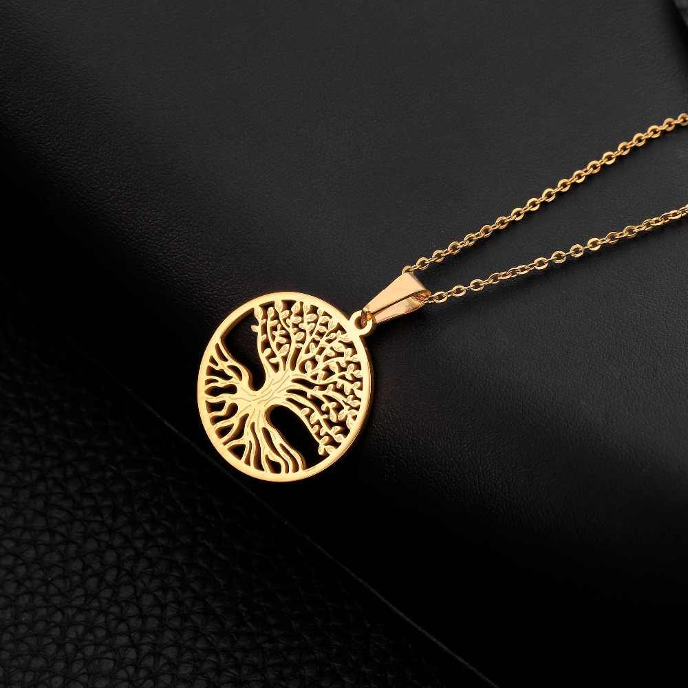 Stainless Steel Pendant For Women Tree Of Life Choker Necklace Men Silver Gold Hollow Pendant Necklace 2019 Fashion Jewelry