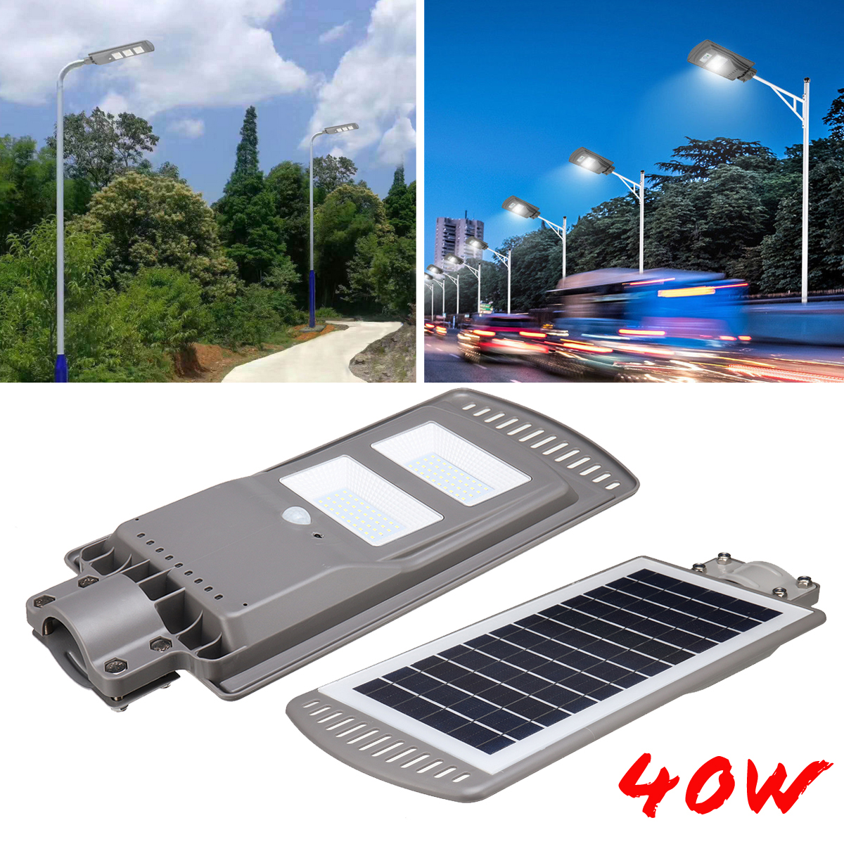 Solar Powered Panel 40W LED Solar Street Light All-in-1 Time Switch Waterproof IP67 Wall Path Lighting Lamp for Outdoor Garden high lumen 60w all in one solar street light south africa for commerical lighting residential lighting