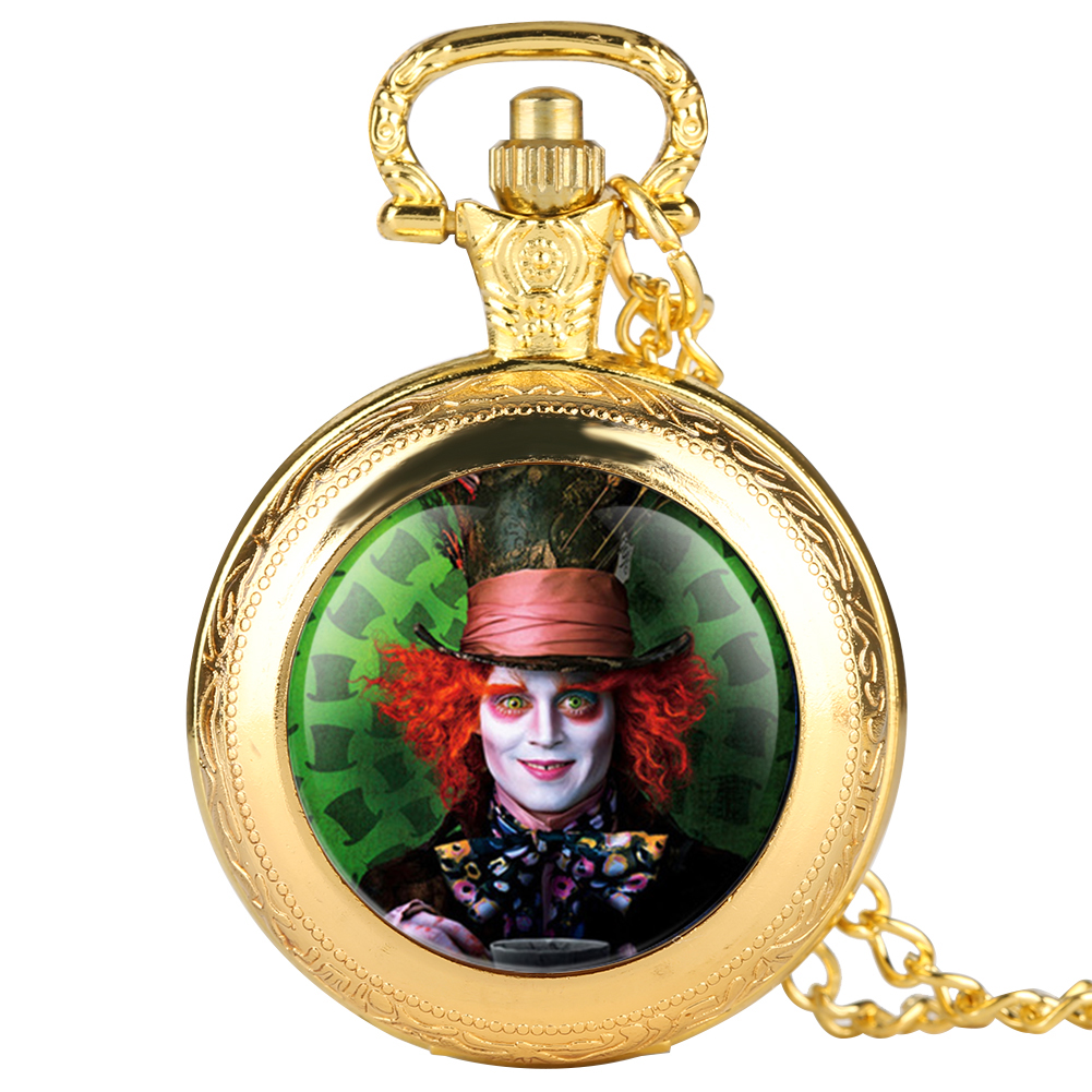 Retro Mens Pocket Watch Gold Clown Pattern Pocket Watch For Boy Arabic Number Quartz Pocket Watches For Teenager
