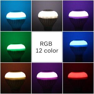 Image 2 - E27 สมาร์ท RGB RGBW ลำโพงบลูทูธไร้สายหลอดไฟ 220V 12 วัตต์หลอดไฟ LED เครื่องเล่นเพลง Dimmable เสียง 24 ปุ่มรีโมทคอนโทรล
