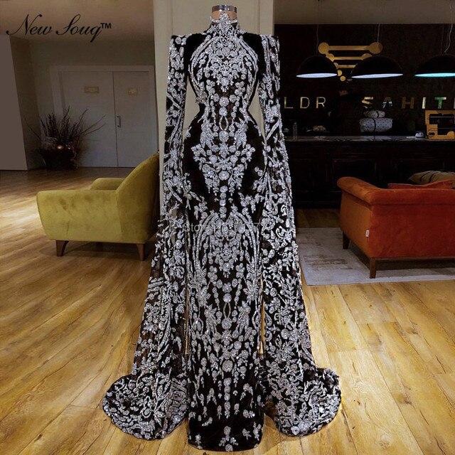 Vestidos de Noche musulmanes Vintage de lujo, ropa árabe turca de Dubái, vestidos de fiesta de manga larga, Vestido tipo sirena Abendkleider 2019