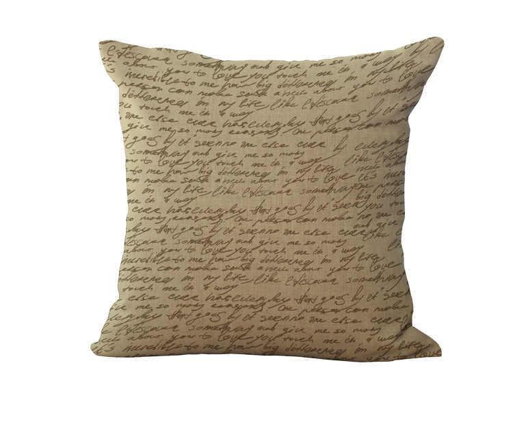 Patrón de mapamundi funda de almohada letras navegación almohada coverCotton Lino accesorios para el hogar 45x45cm