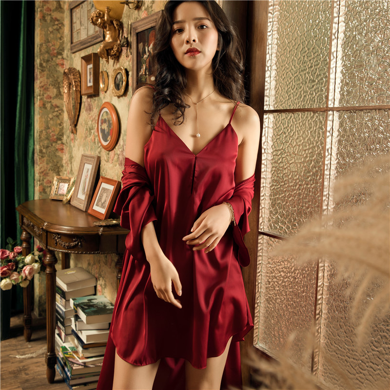 Summer Women Robe & Gown Sets Satin Sleepwear Female Sexy Silk Ladies Robe Set Silk Sleep Lounge Robe Elegant Nightdress
