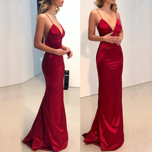 Long Red Deep V  Bodycon Sleeveless Backless Dress PU27
