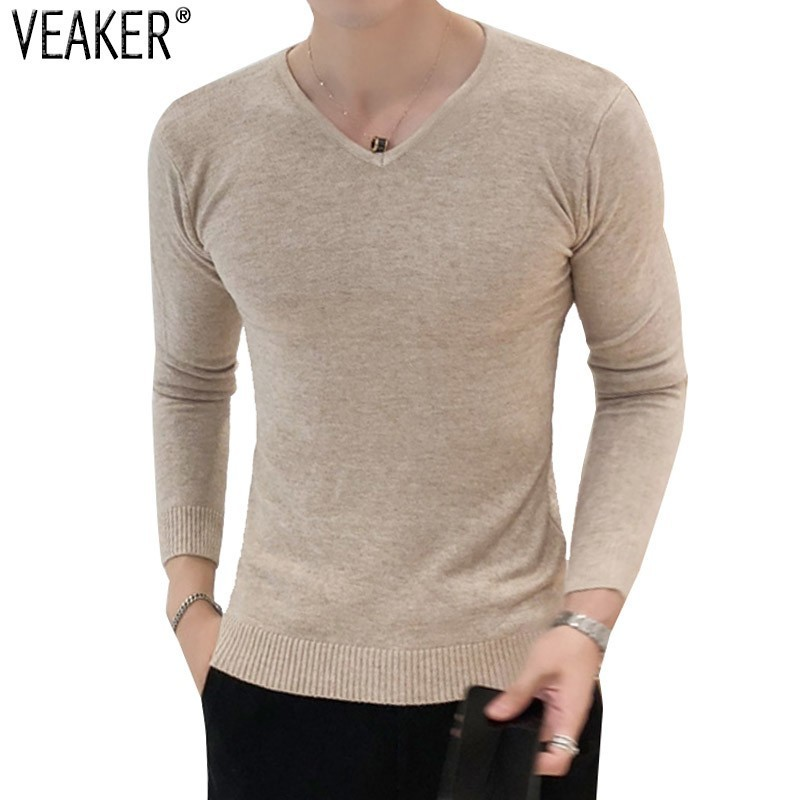 Pullover Sweaters V-Neck Slim-Fit Knitted Male Autumn Men's New Black Gray Solid Tops