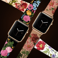 Original Design Trend Print Leather Band for iwatch Strap Series 3 2 1 Flower Design Wrist Watch Bracelet for Apple Watch Band 4