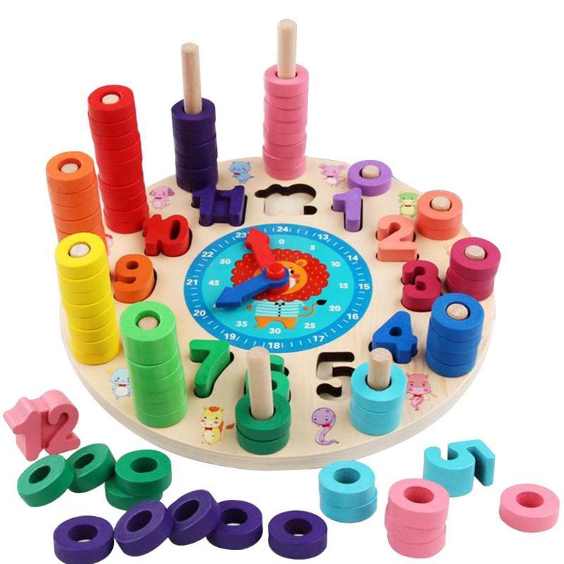 Дети деревянные цифры часы Когнитивная Игрушка Дети Математика будильник доска соответствия 3D DIY головоломки образовательный Детский пазл