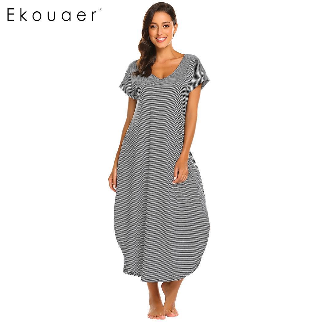 Ekouaer Women Nighty Dress Nightwear Casual V-Neck Short Sleeve Striped Loose Long   Nightgown   Chemise   Sleepshirts